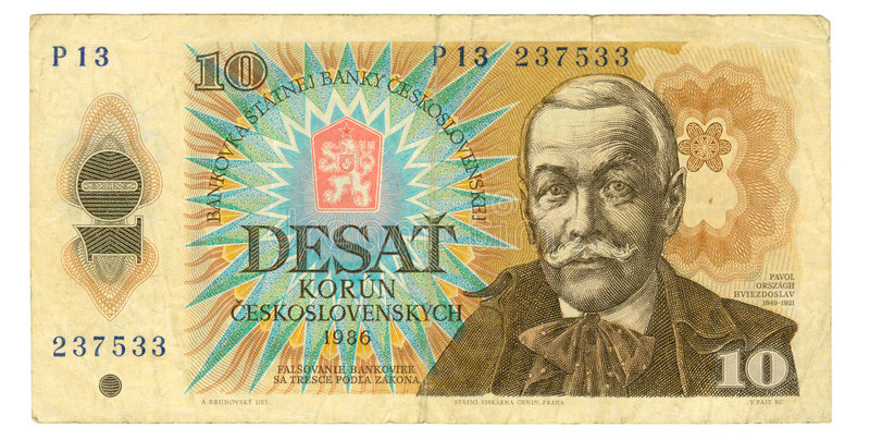 10 koruna bill of Czechoslovakia, 1986. 10 koruna bill of Czechoslovakia, cyan, dun, hazel colours stock images