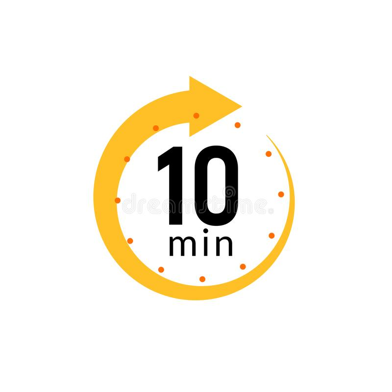 Free 10 Minutes Clock Quick Number Icon. 10min Time Circle Icon Royalty Free Stock Images - 184373089