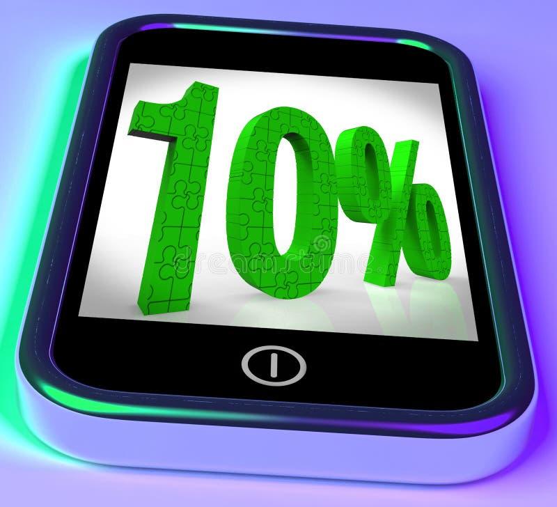 10 op Smartphone die Koopjes en Verminderde Prijzen tonen stock illustratie