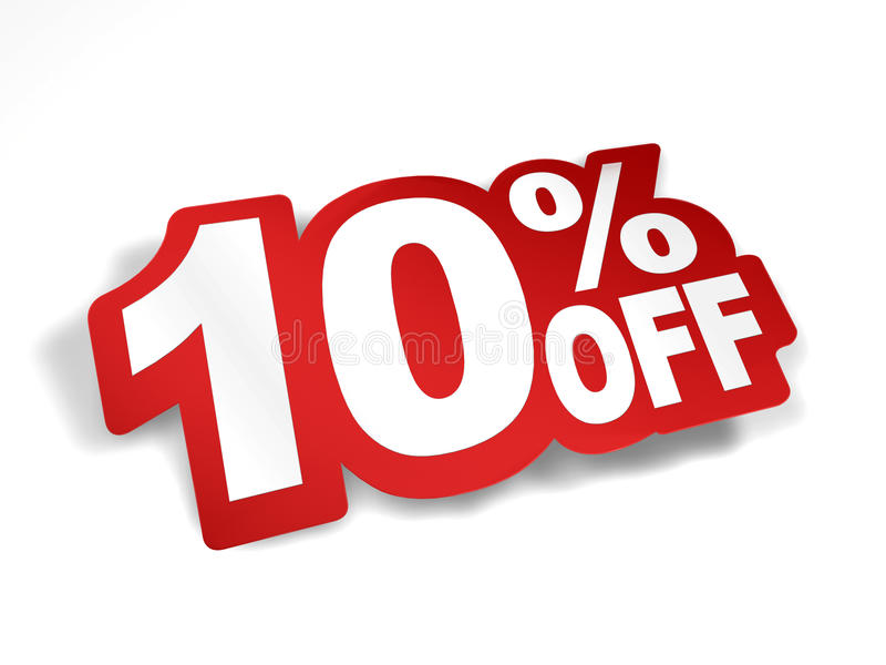 10 percent off discount. Bend the text into sticker look royalty free illustration
