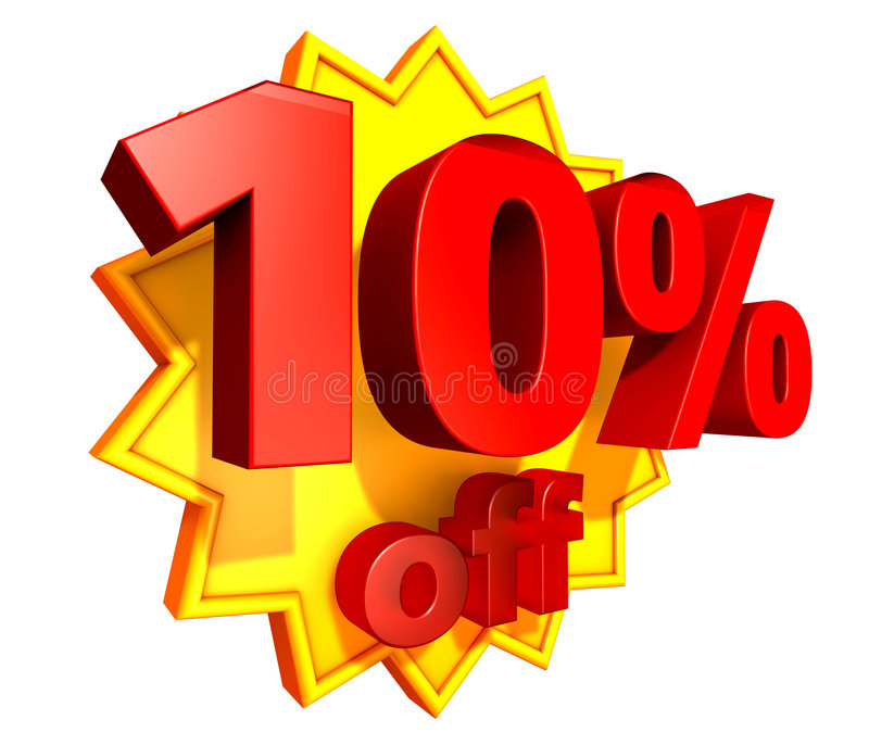 10 percent price off discount. Sign for 10 per cent off in red ciphers at a yellow star on a white background