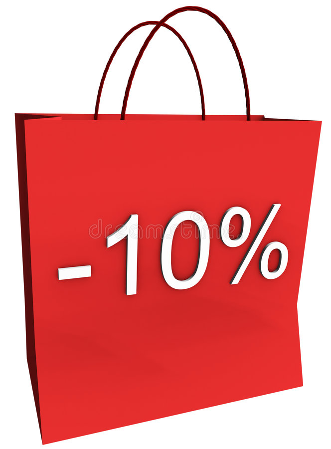 10 percenten van het Winkelen Zak royalty-vrije illustratie