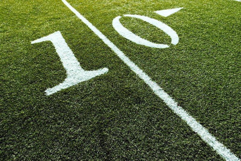 10 polowych jardów w piłce nożnej zdjęcie stock