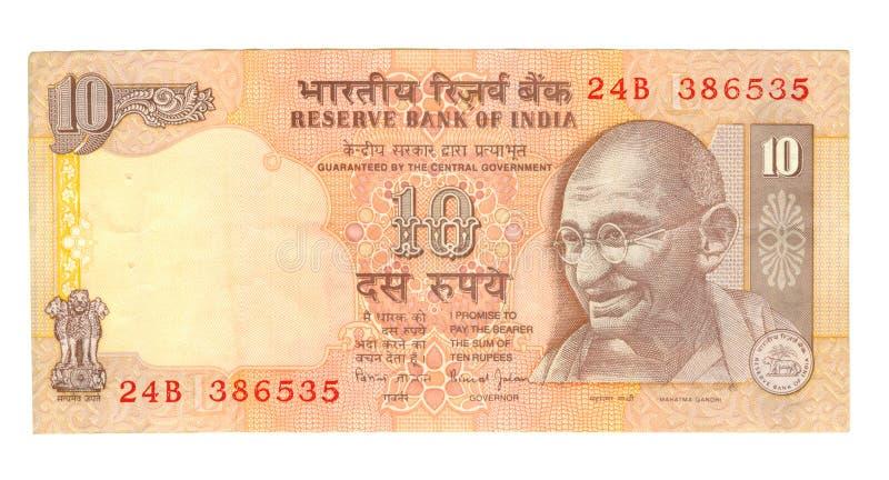 10-Rupie-Rechnung von Indien lizenzfreies stockbild
