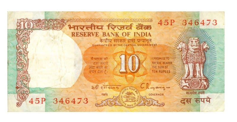 10-Rupie-Rechnung von Indien stockfoto