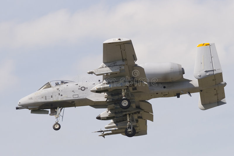 A-10 Thunderbolt II. A-10 Thunderbolt tankbuster prepares to land royalty free stock images