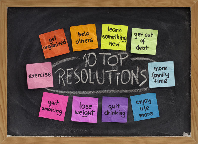 Download 10 Top New Year Resolutions Stock Photo   Image Of Note, Weighjt:  12426986