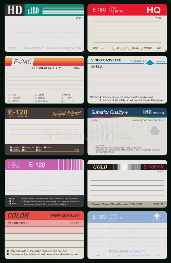 Free 10 VHS Labels Royalty Free Stock Photography - 78266117