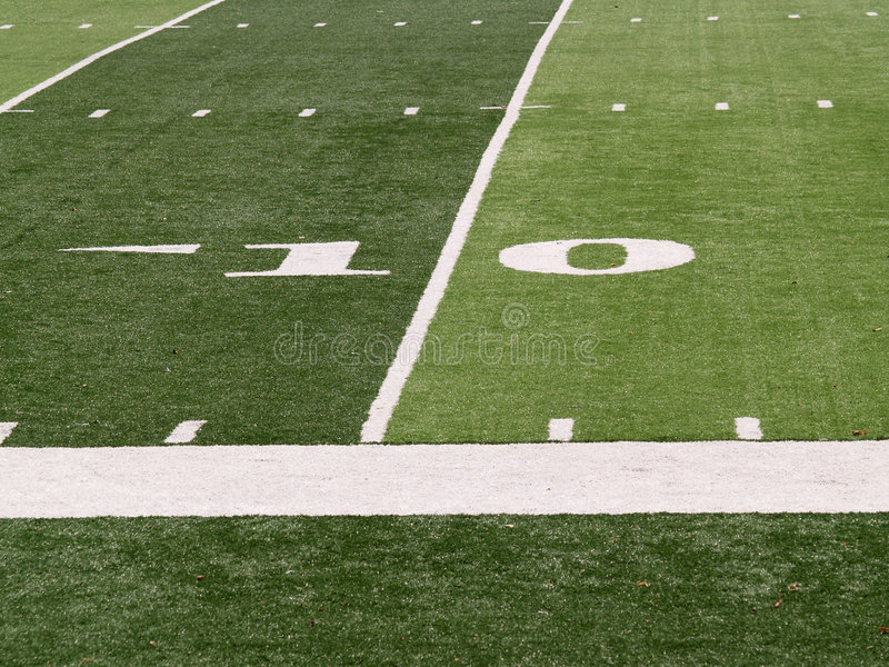 10 yard line on football field stock photos