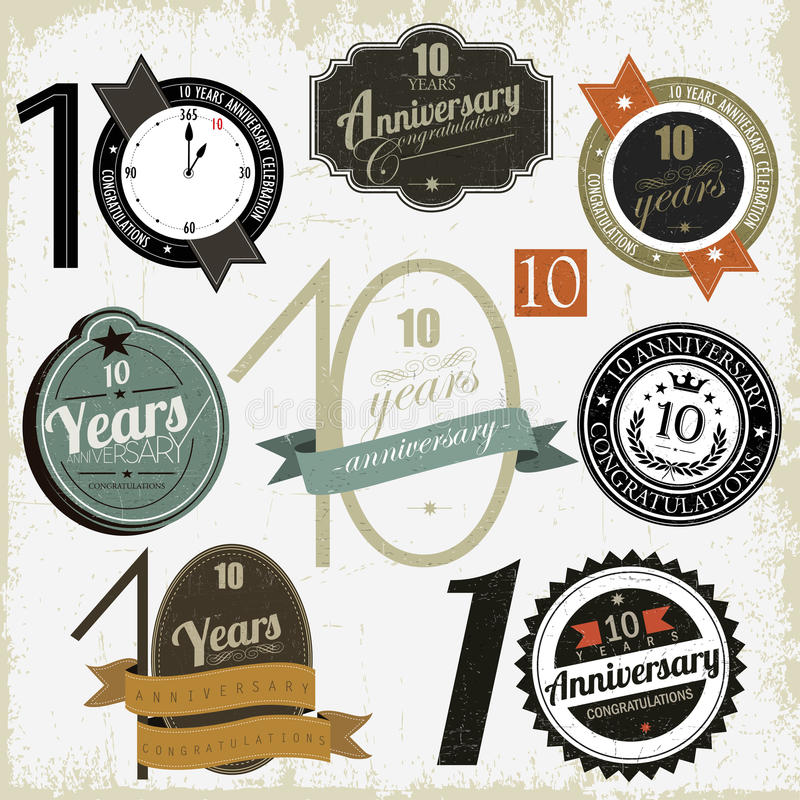 10 Years Anniversary Signs And Cards Stock Image