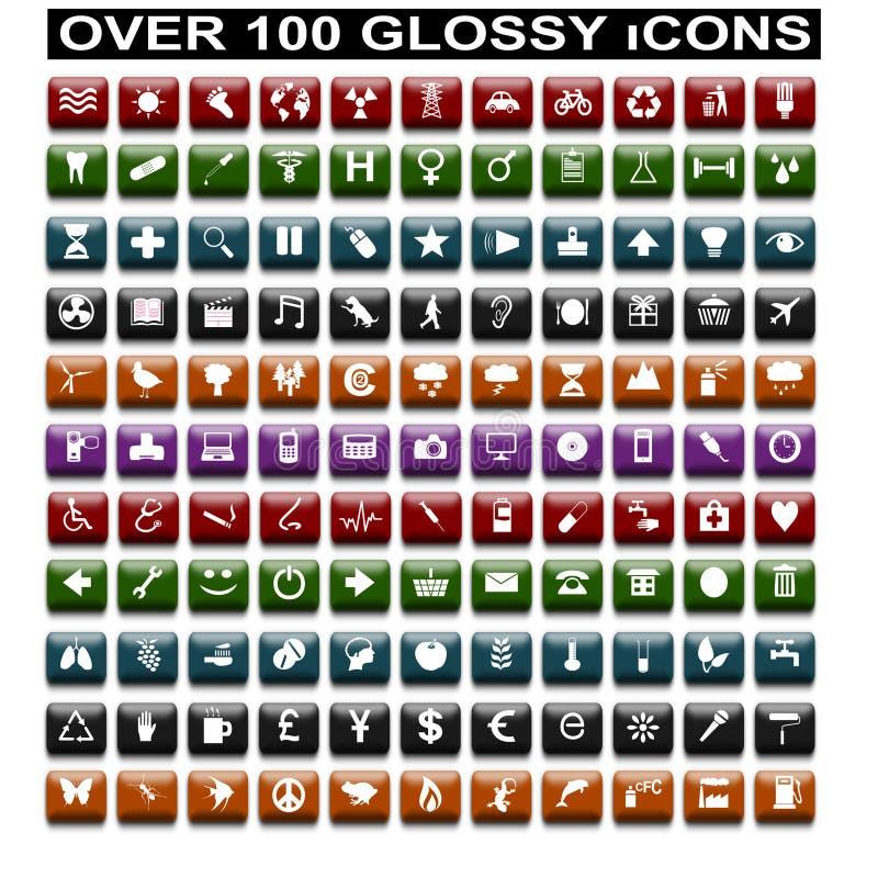 100个光滑的图标 皇族释放例证