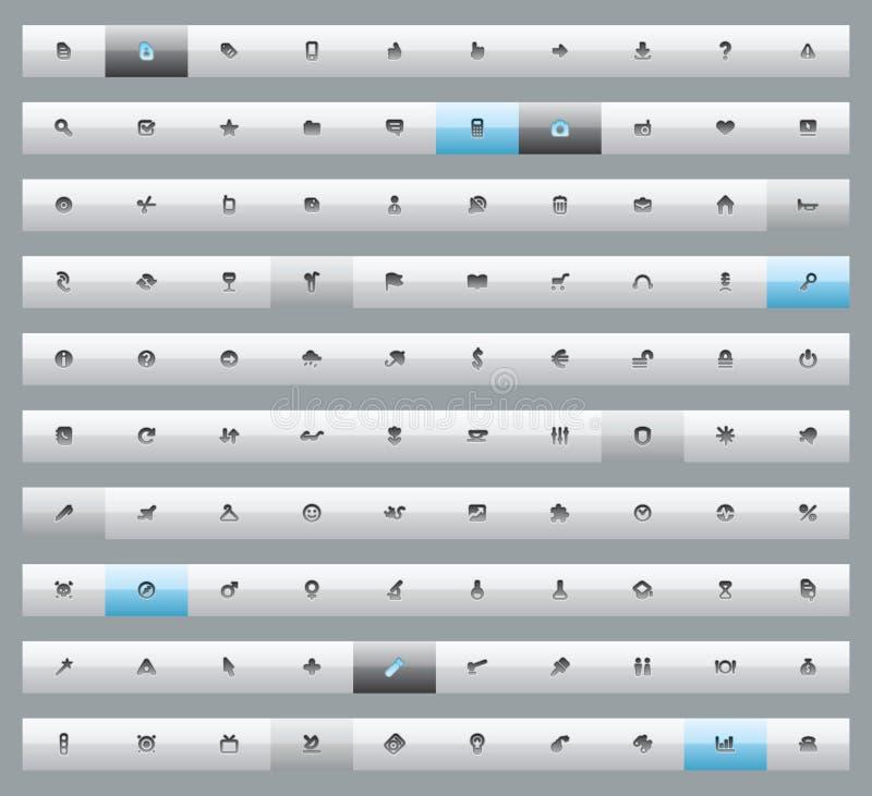 100个按钮界面 库存例证