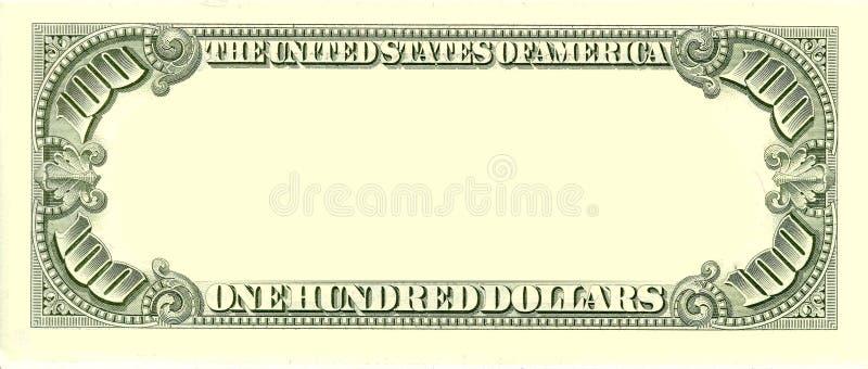 100个票据空白美元反面 库存照片