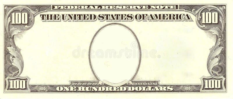 100个票据空白美元纵向端