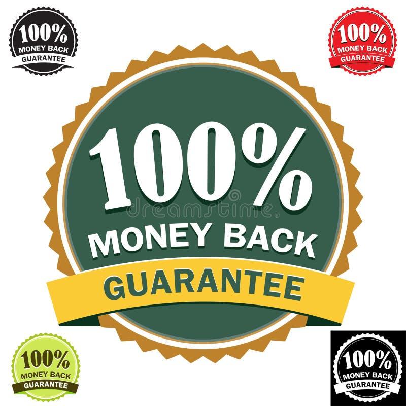 100回到保证图标货币 皇族释放例证