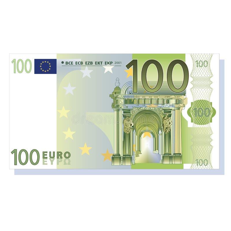 100张钞票欧元向量 皇族释放例证