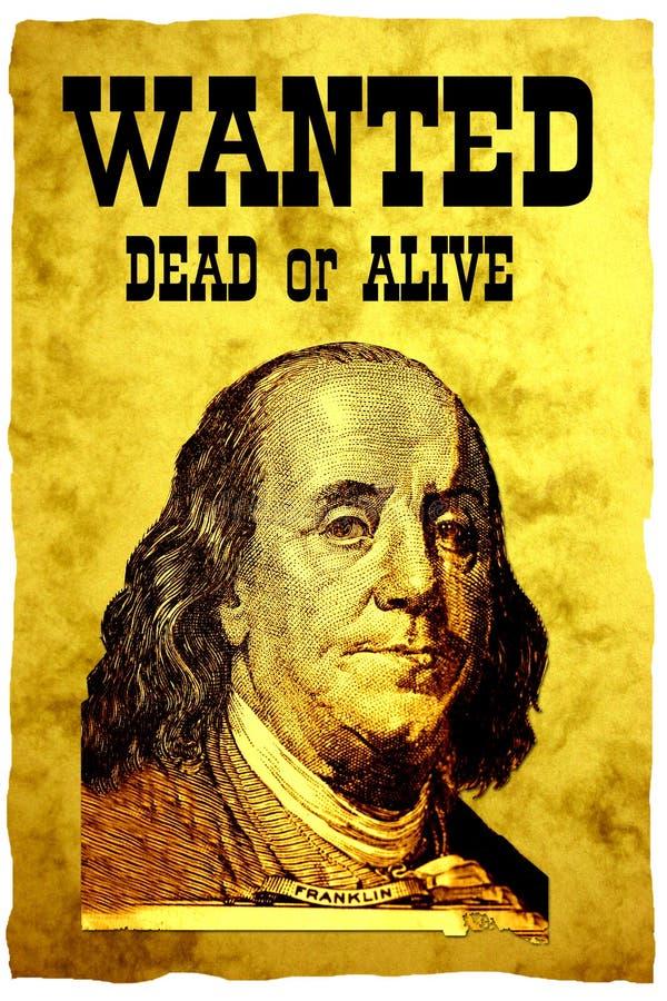 100票据概念性美元富兰克林顶头海报总 库存图片