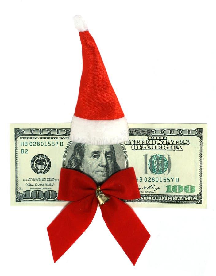 100钞票美元穿戴了s圣诞老人统一 免版税库存图片