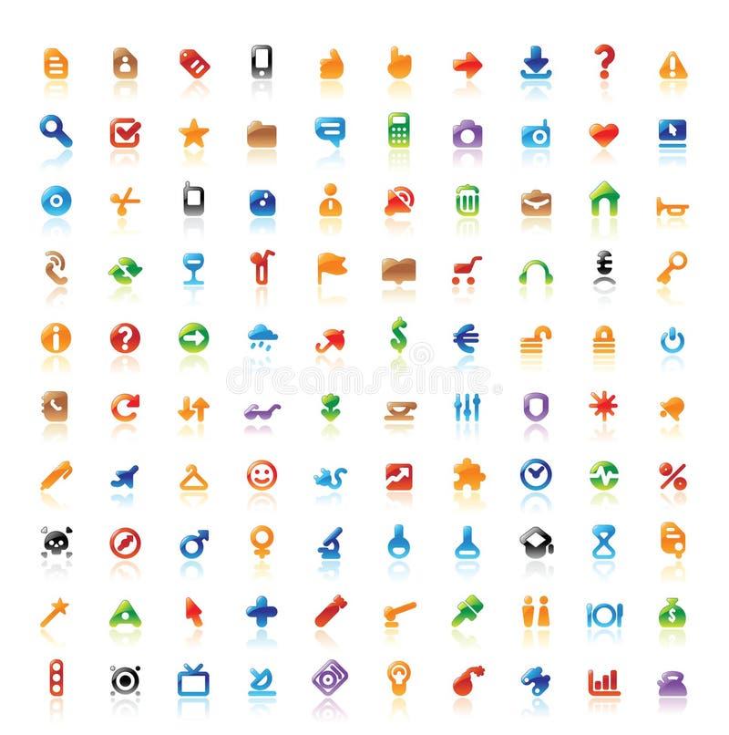 100 ícones perfeitos ilustração do vetor