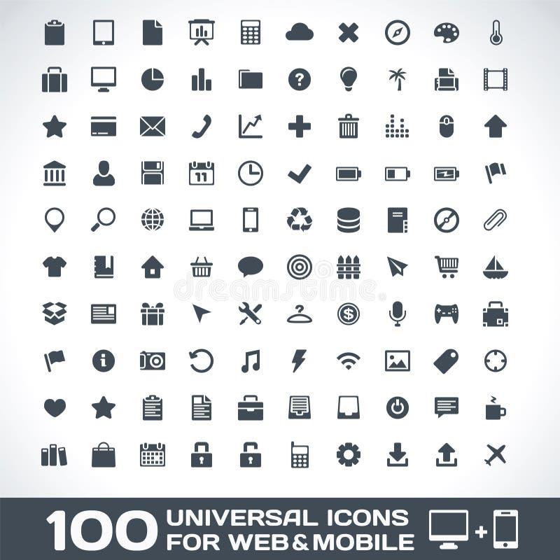 100 всеобщих икон для сети и Мобил иллюстрация вектора