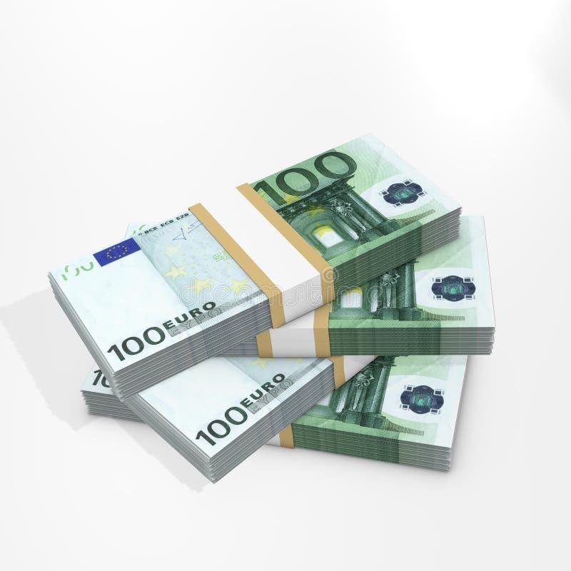 100 стогов евро иллюстрация вектора