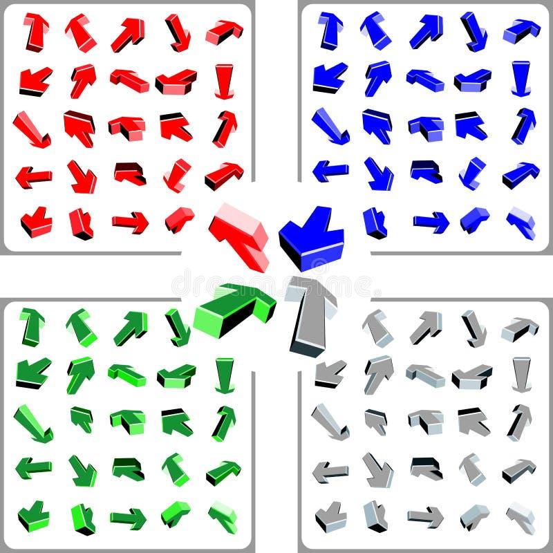 100 3d color arrows