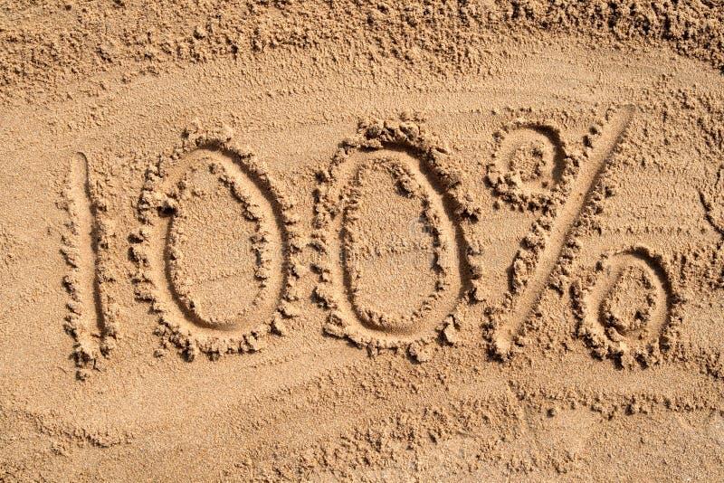 100% auf einem sandigen Strand. vektor abbildung