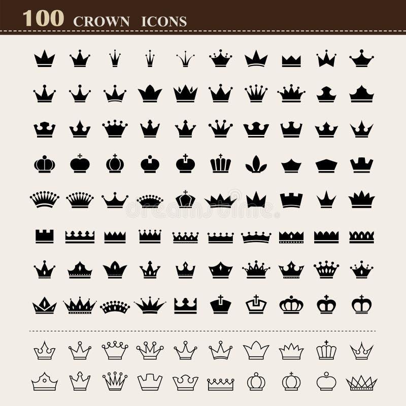 Free 100 Basic Crown Icons Set Stock Photo - 51517840