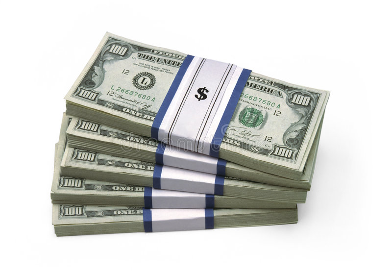 $100 Bills - Stacked royalty free stock photo