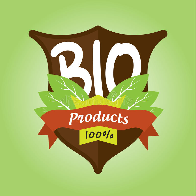 Download 100% bio products badge stock vector. Image of illustration - 37872588