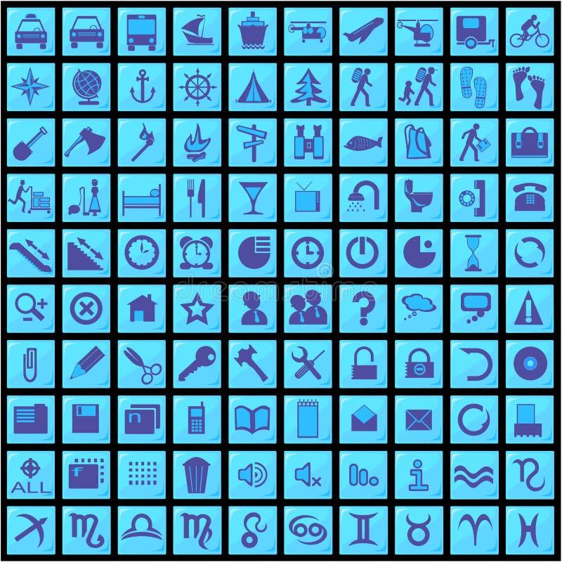 100 blåa symboler vektor illustrationer