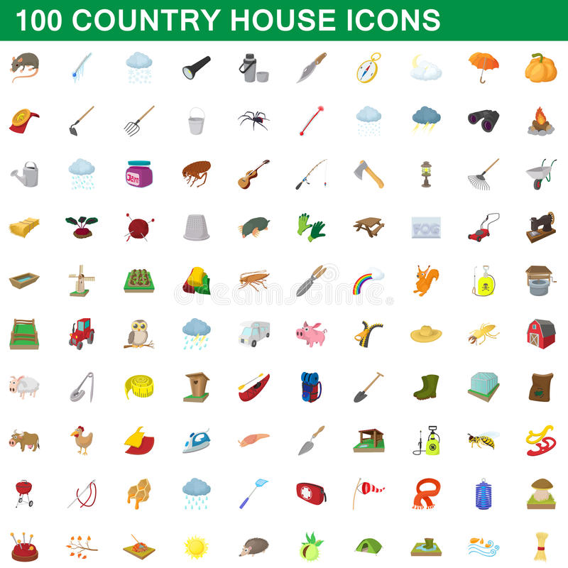Free 100 Country House Icons Set, Cartoon Style Stock Image - 95410431