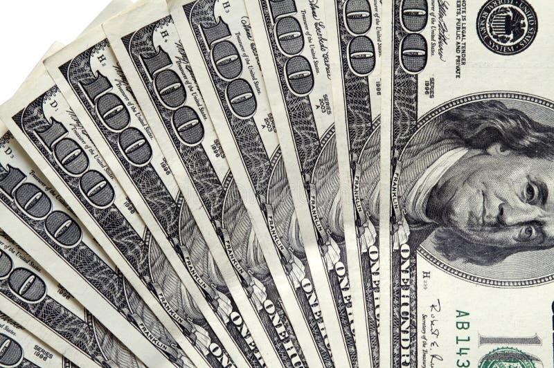 100 cuentas de dólar se cierran para arriba fotos de archivo