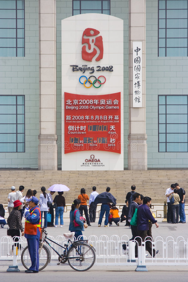 100 días dejados labran las Olimpiadas en Pekín foto de archivo