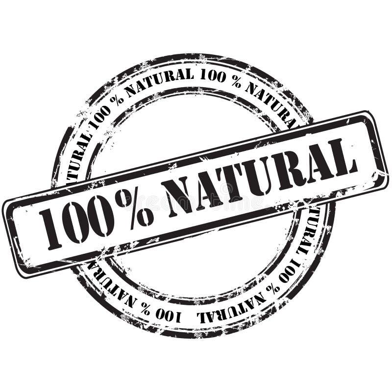 %100 de natuurlijke achtergrond van de grunge rubberzegel stock illustratie