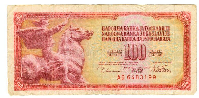 100 dinar yugoslavia för 1978 bill royaltyfri bild