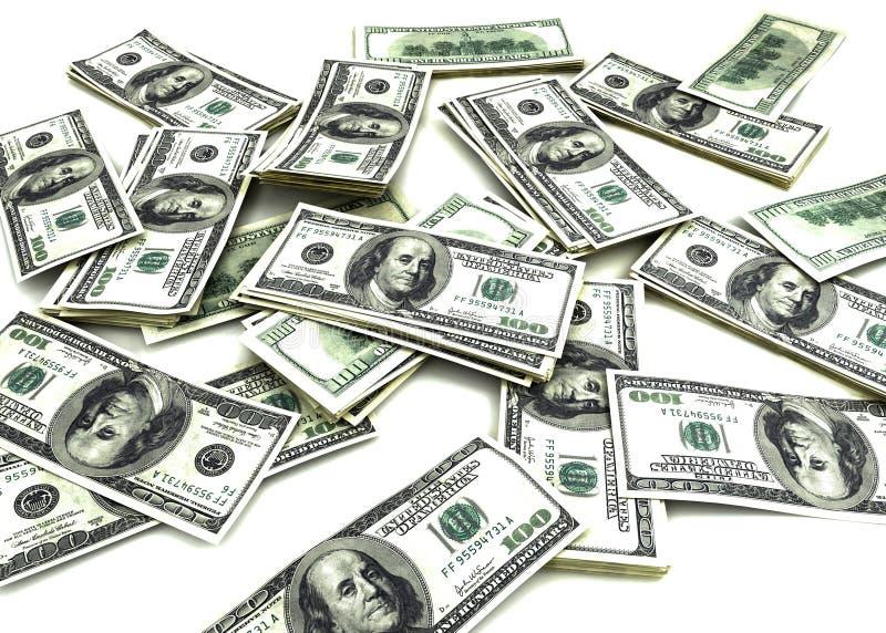 100 Dollar Bills. Scattered on plain white background