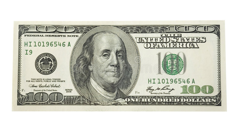 100 dollars royalty-vrije stock afbeeldingen