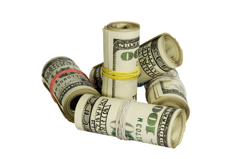 100 dollars rolls isolated on white. Background with clipping path stock photo