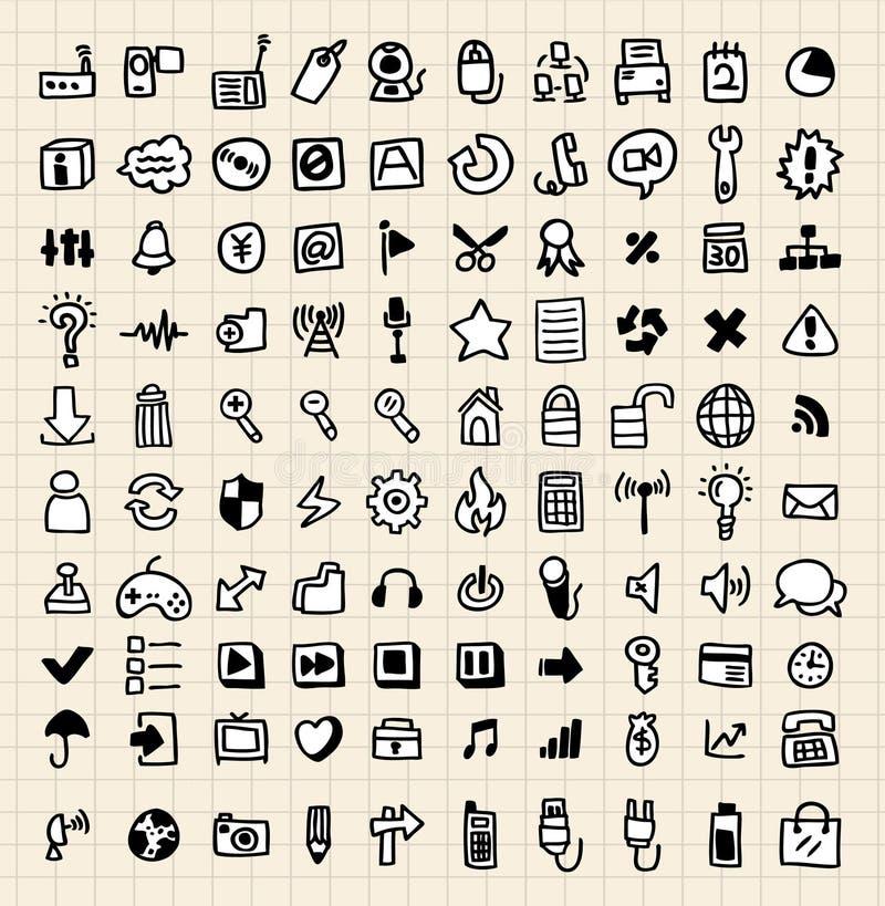 100 doodle ikony sieć ilustracja wektor