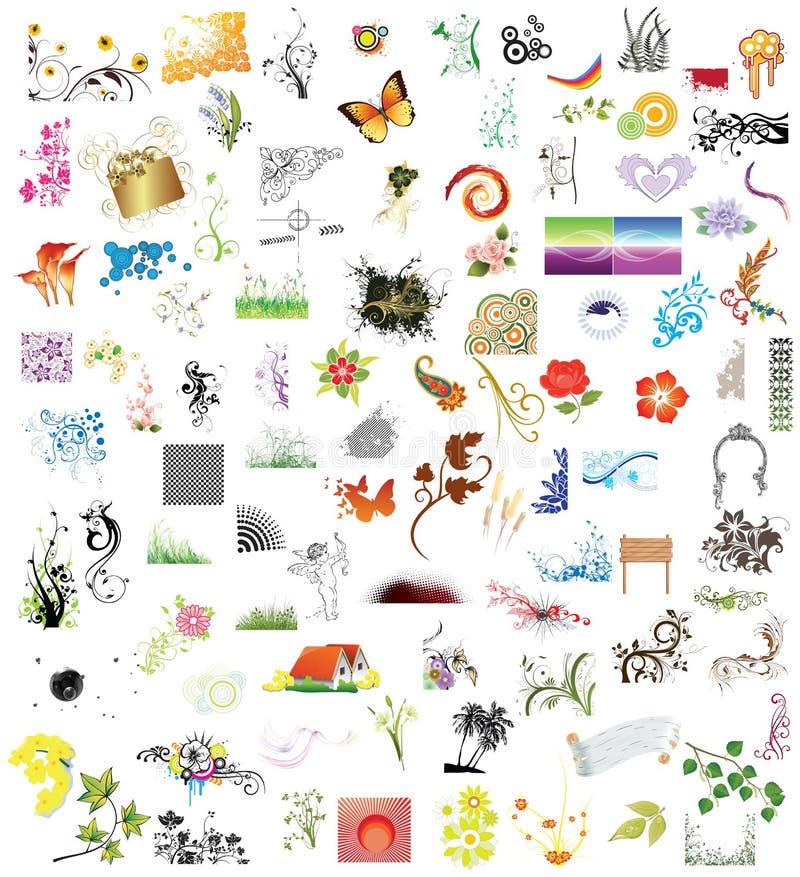 100 elementi di disegno illustrazione di stock