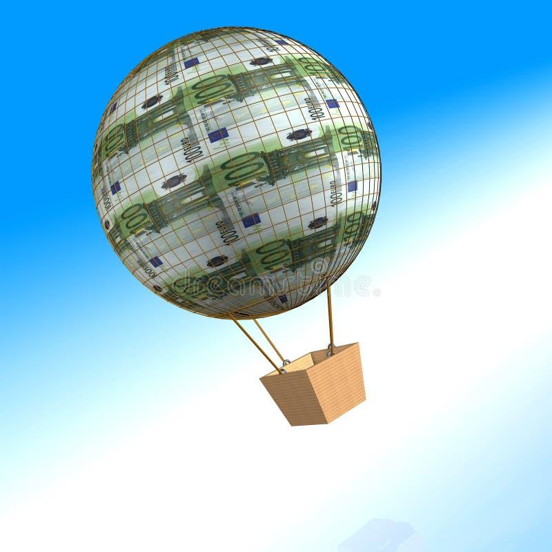 100 Euro air balloon. 3d image of a hundred euro air balloon on the sea