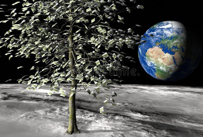 100 euro money tree on the moon vector illustration