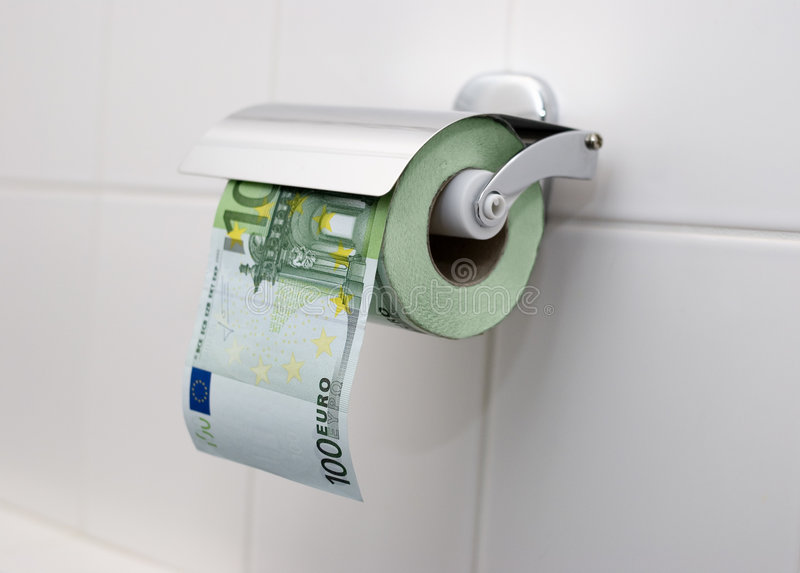 100 euro Toiletpapier stock afbeeldingen
