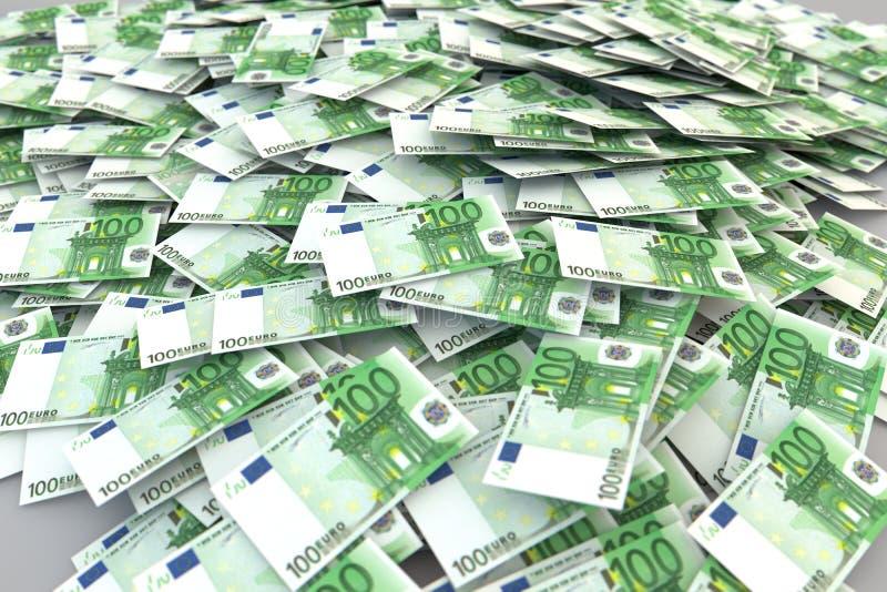 100 Euros pengarbunt royaltyfri illustrationer