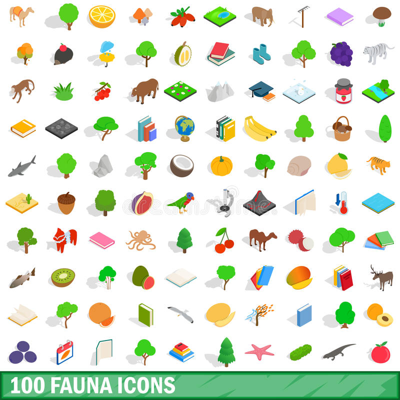 Free 100 Fauna Icons Set, Isometric 3d Style Stock Images - 91191094