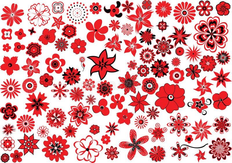 100 fleurs illustration stock