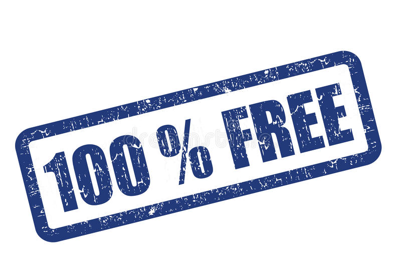 100 % FREE. Blue rubber stamp -100 % FREE