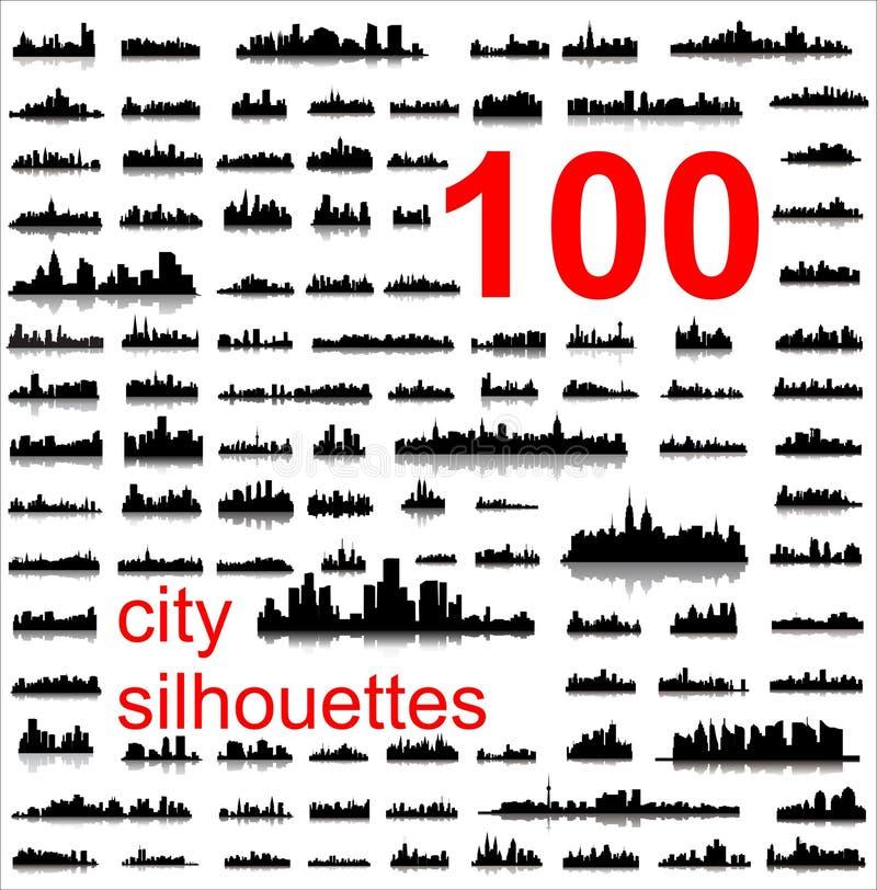 100 gedetailleerde silhouetten van wereldsteden royalty-vrije illustratie