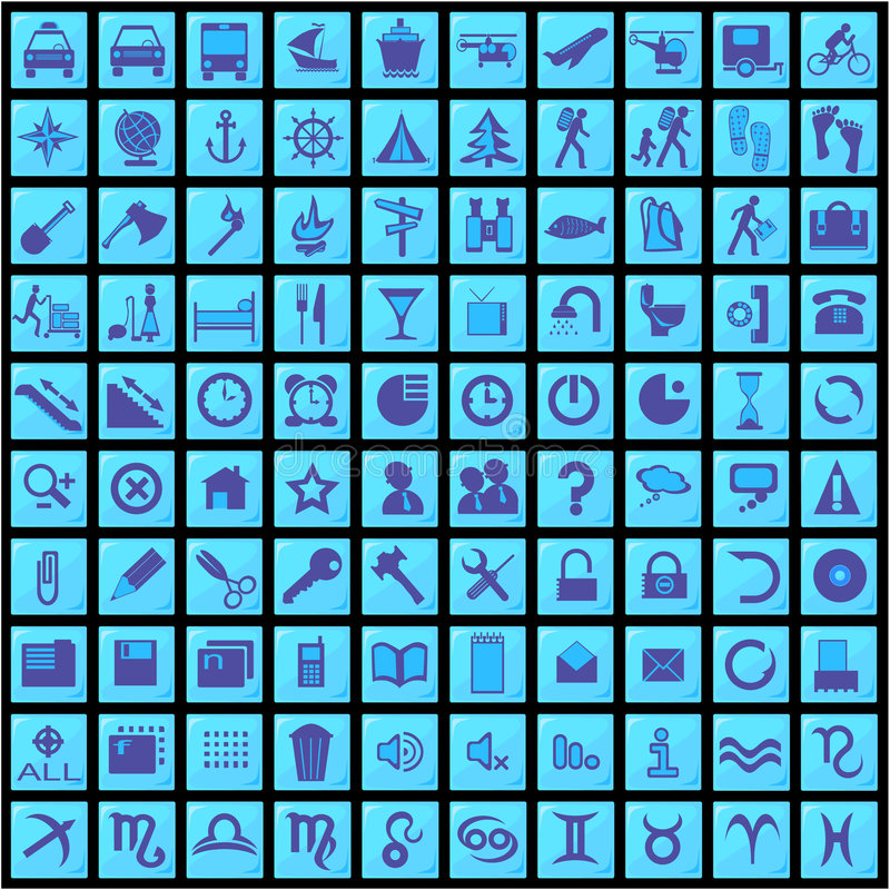 100 graphismes bleus illustration de vecteur